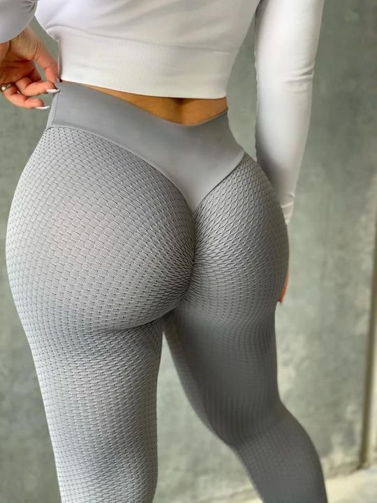 Solid Textured Butt Lifting Sports Leggings gallery 4