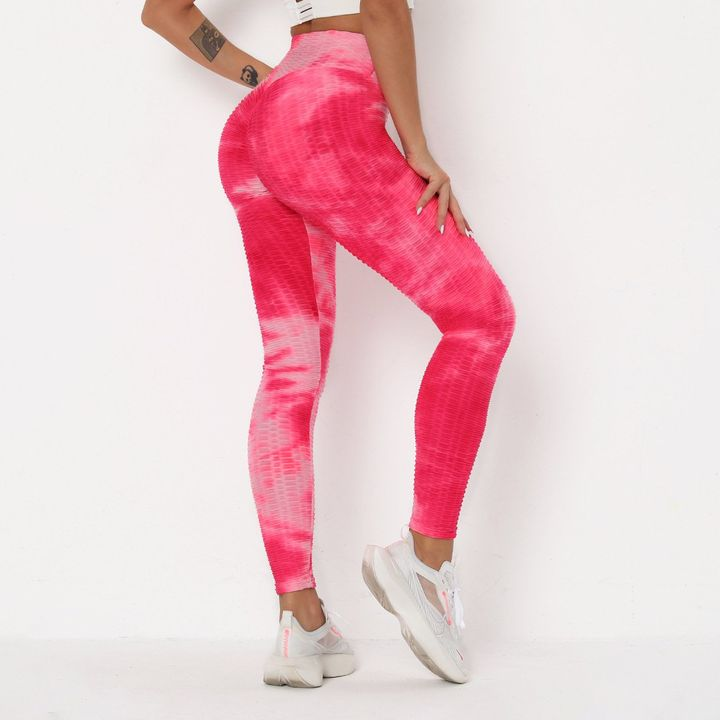 Strawberry Soda Tie Dye Textured Butt Lifting Ruched Leggings gallery 4