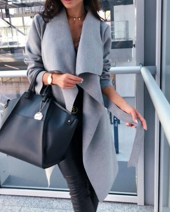 Solid Belted Pocket Detail Waterfall Coat gallery 8