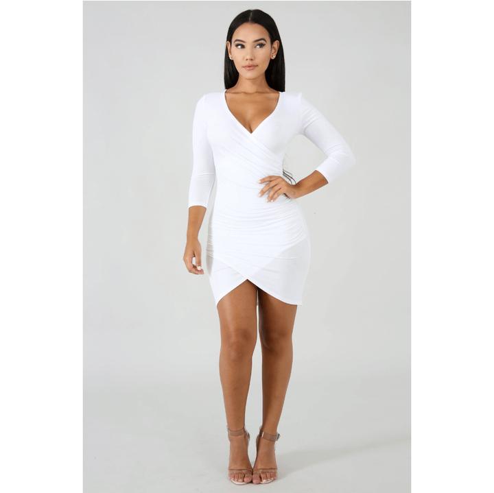 Deep V-Neck Wrap Ruched Irregular Hem Mini Dress gallery 8