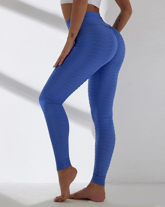 Solid Textured Wide Waistband Sports Leggings gallery 4