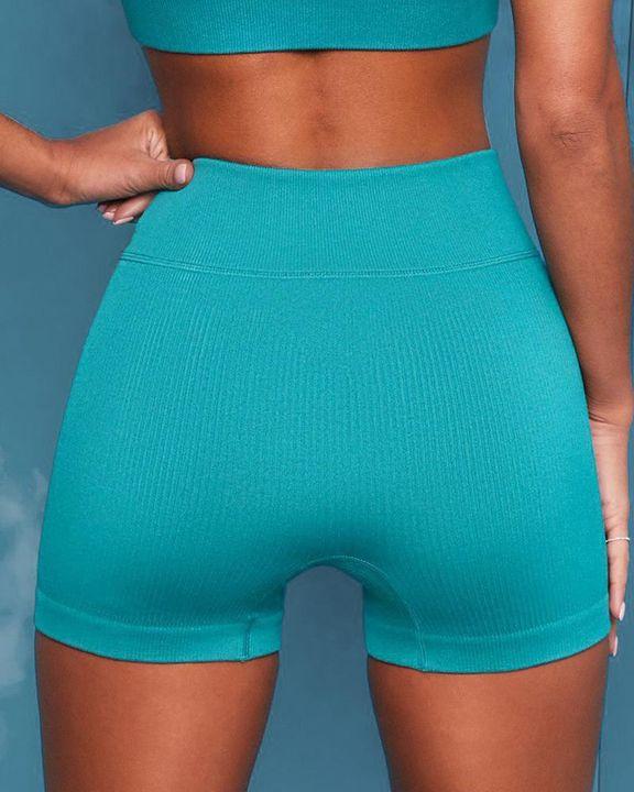 Ribbed Knit Drawstring Waist Butt Lifting Seamless Sports Shorts gallery 4