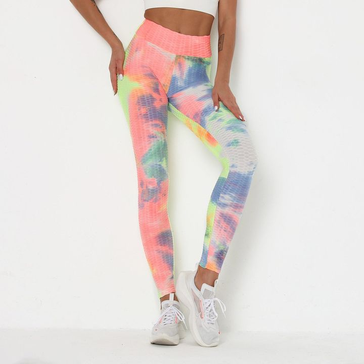 Watercolor Tie Dye Textured Butt Lifting Ruched Leggings gallery 5