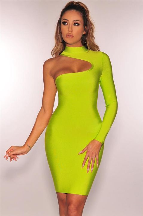 Bandage One Shoulder Cut Out Midi Dress gallery 5