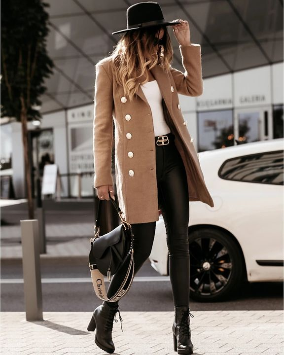 Solid Double Breasted Lapel Neck Coat gallery 6