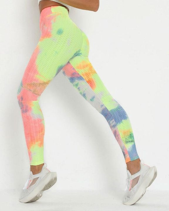 Watercolor Tie Dye Textured Butt Lifting Ruched Leggings gallery 1