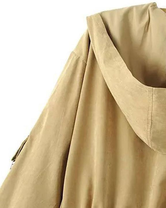 Solid Drawstring Waist Dual Pocket Front Hooded Coat gallery 12