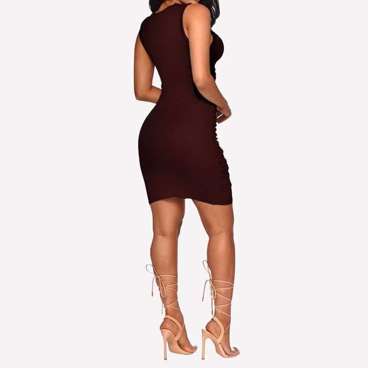 Solid Cut Out Front Wrap Mini Dress gallery 13