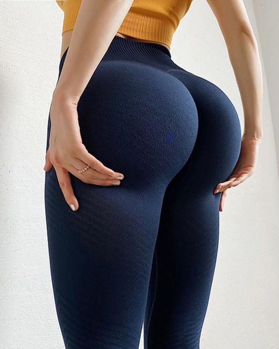 Hollow Out Ribbed Seamless Wide Waistband Sports Leggings gallery 19