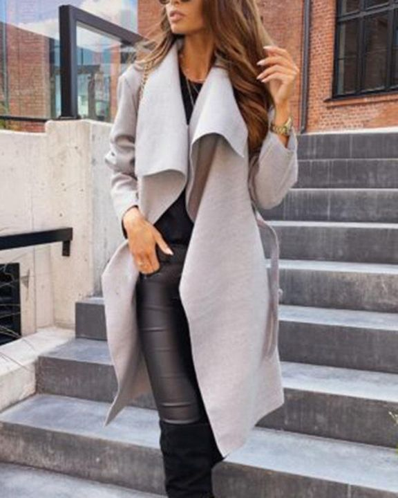 Solid Belted Pocket Detail Waterfall Coat gallery 9