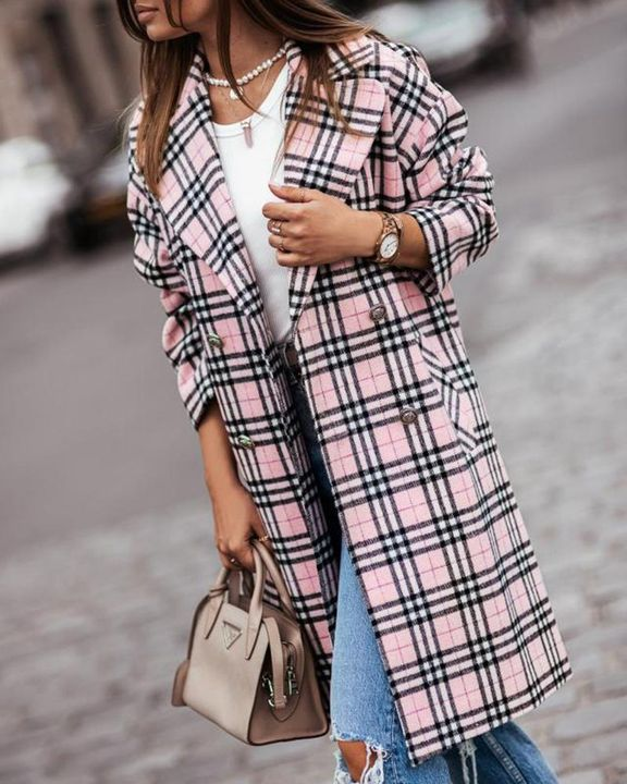 Plaid Print Double Breasted Coat gallery 5