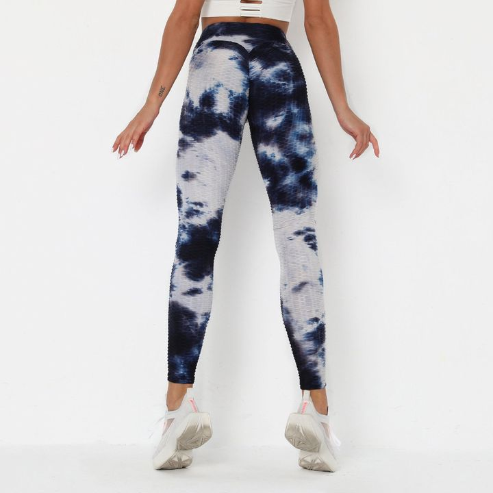 Porcelain Tie Dye Textured Butt Lifting Ruched Leggings gallery 10