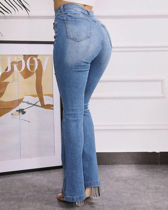 Split Hem High Waist Skinny Flare Jeans gallery 6