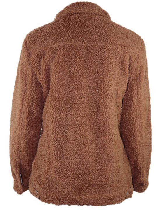 Faux Fur Flap Pocket Button Up Coat gallery 3