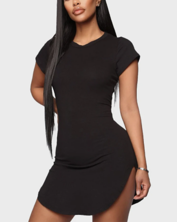Solid Scoop Neck Side Slit Mini Dress gallery 1