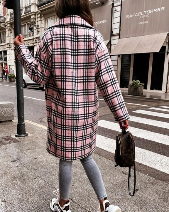 Plaid Print Double Breasted Coat gallery 4