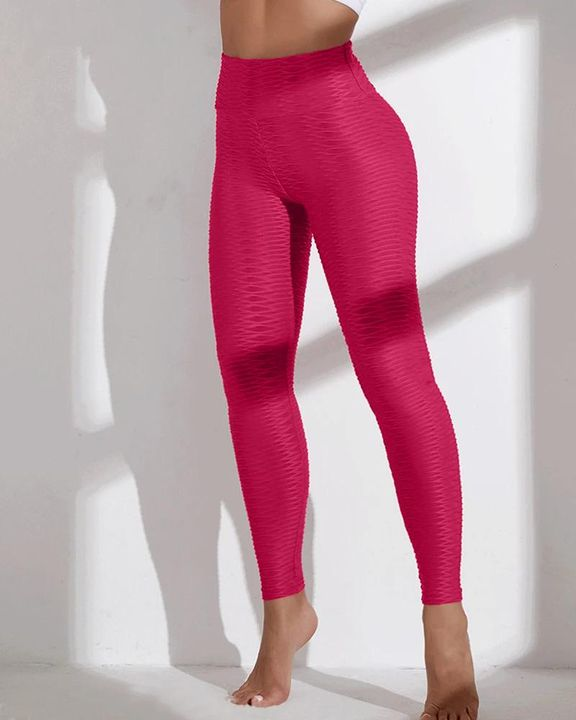 Solid Textured Wide Waistband Sports Leggings gallery 10