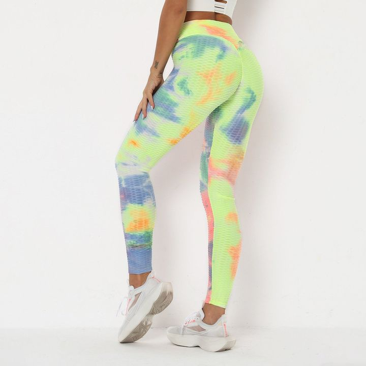Watercolor Tie Dye Textured Butt Lifting Ruched Leggings gallery 8