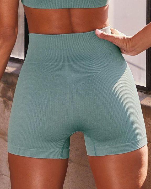 Rib-knit High Waist Butt Lifting Seamless Sports Shorts  gallery 11
