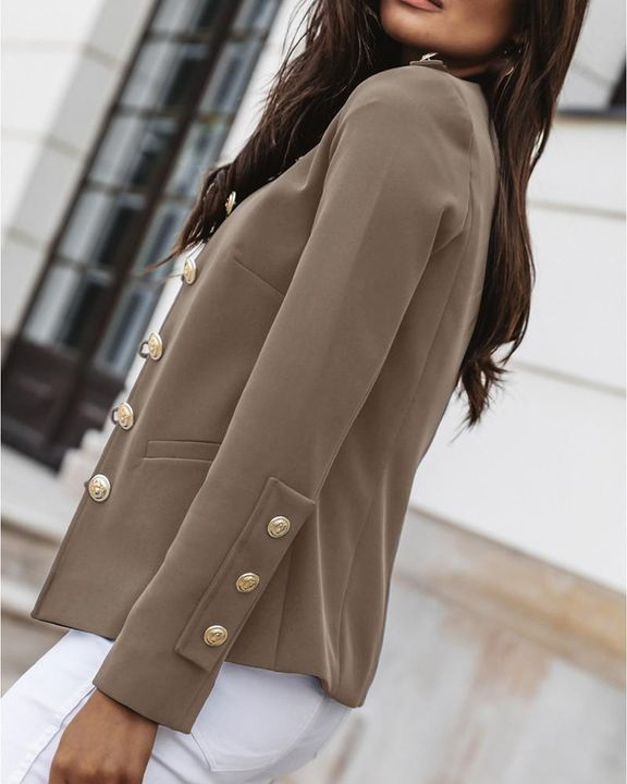 Button Up Front Pocket Detail Tailored Jacket gallery 15