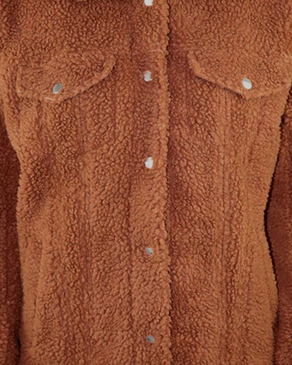 Faux Fur Flap Pocket Button Up Coat gallery 4