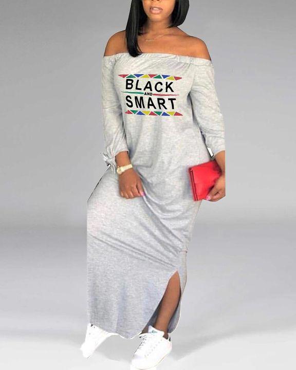 Letter Print Off Shoulder Split Hem Maxi Dress gallery 7
