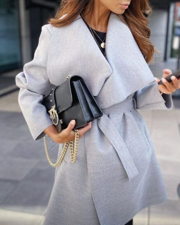 Solid Belted Pocket Detail Waterfall Coat gallery 3