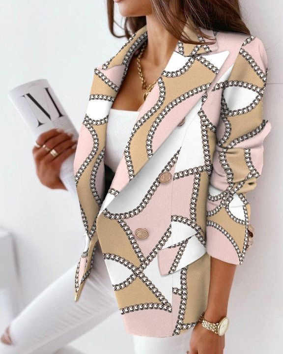 Allover Print Double Breasted Blazer gallery 5