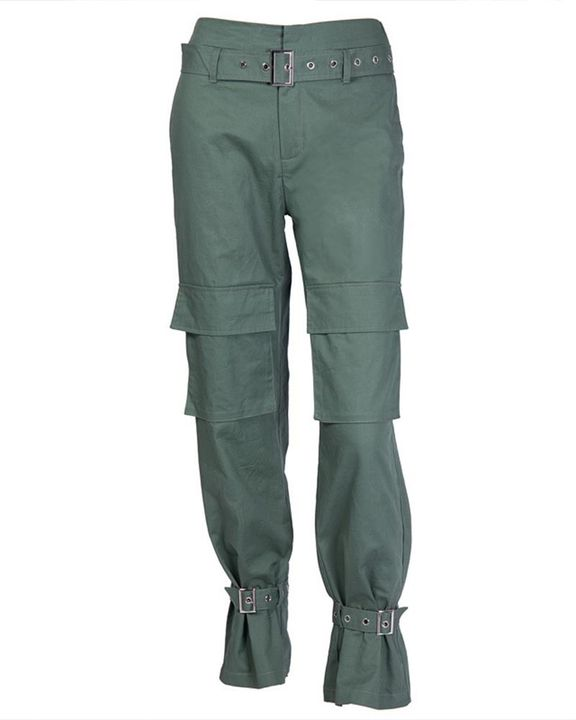 High Waist Belted Pocket Detail Pants gallery 7