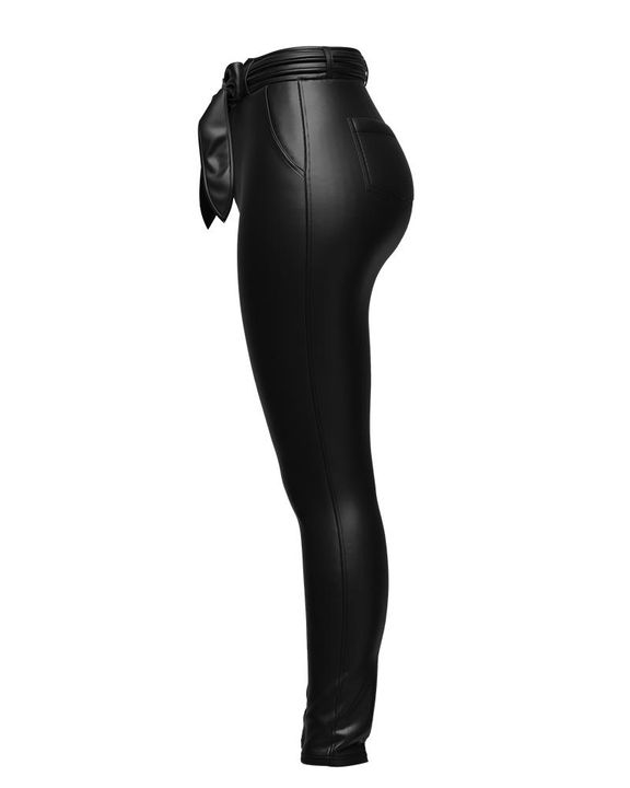 Bow Tie Front Skinny PU Leather Pants gallery 11