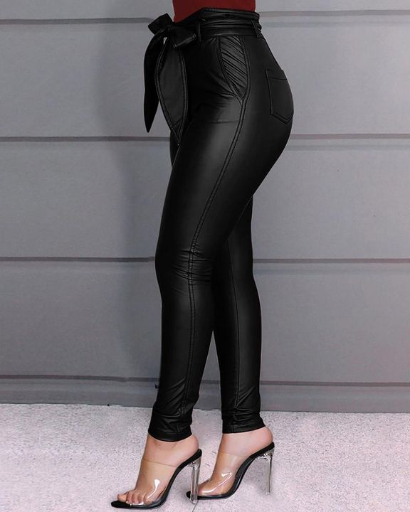 Bow Tie Front Skinny PU Leather Pants gallery 3