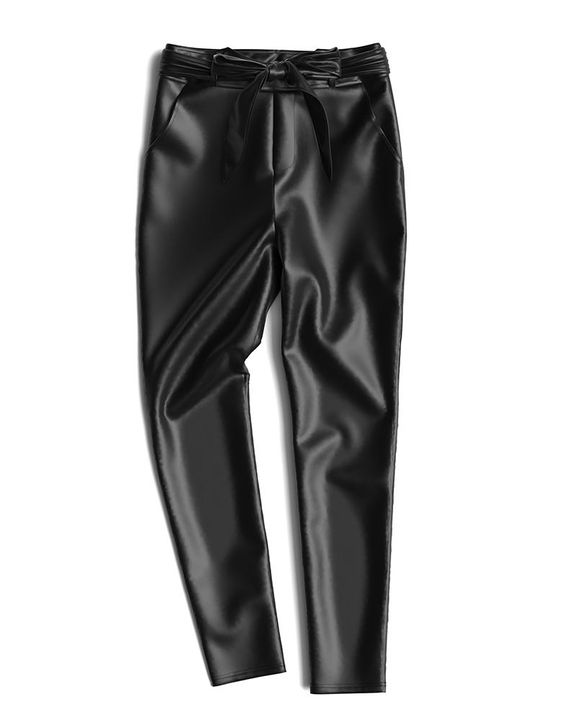 Bow Tie Front Skinny PU Leather Pants gallery 16
