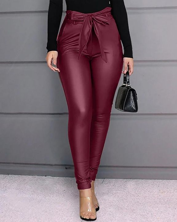 Bow Tie Front Skinny PU Leather Pants gallery 1