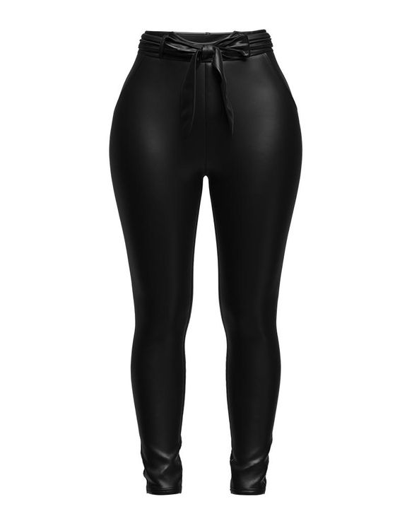 Bow Tie Front Skinny PU Leather Pants gallery 10