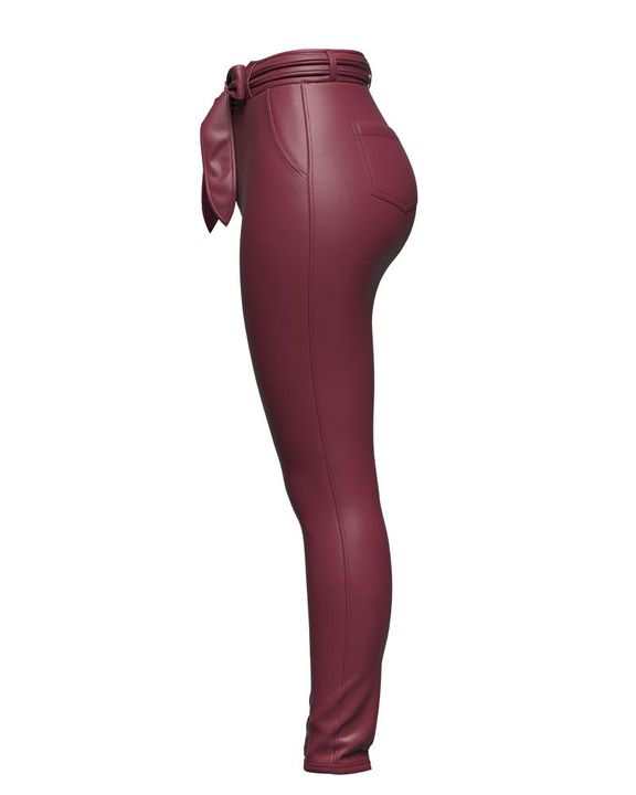 Bow Tie Front Skinny PU Leather Pants gallery 8