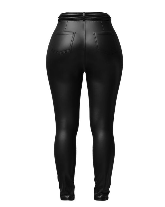 Bow Tie Front Skinny PU Leather Pants gallery 12