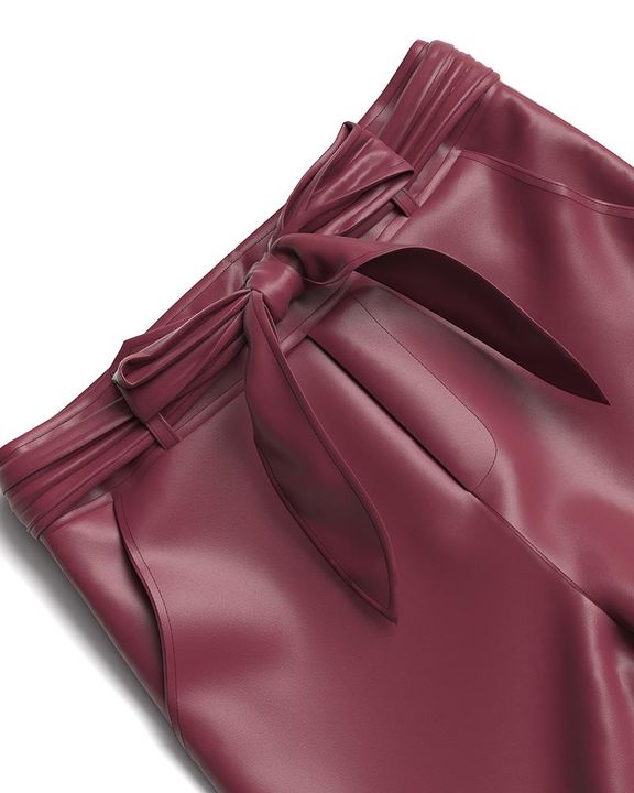 Bow Tie Front Skinny PU Leather Pants gallery 14