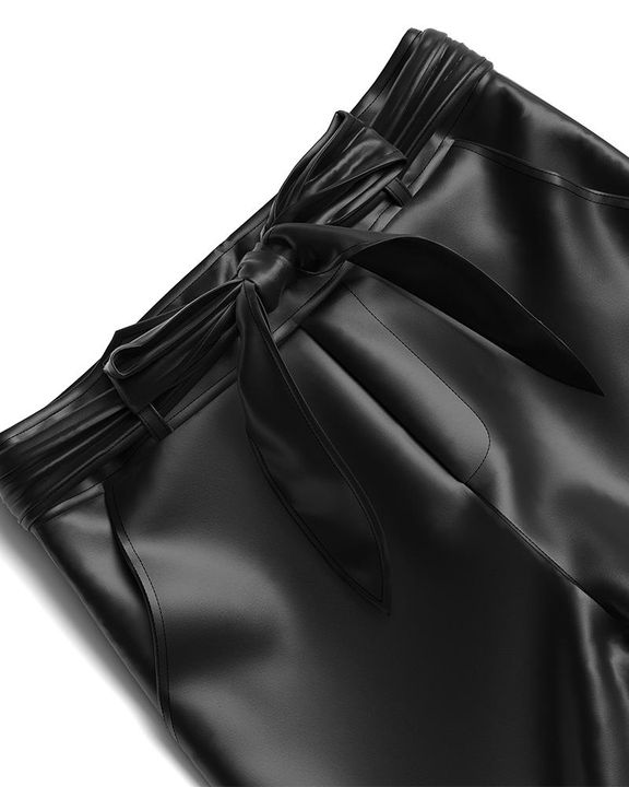 Bow Tie Front Skinny PU Leather Pants gallery 17