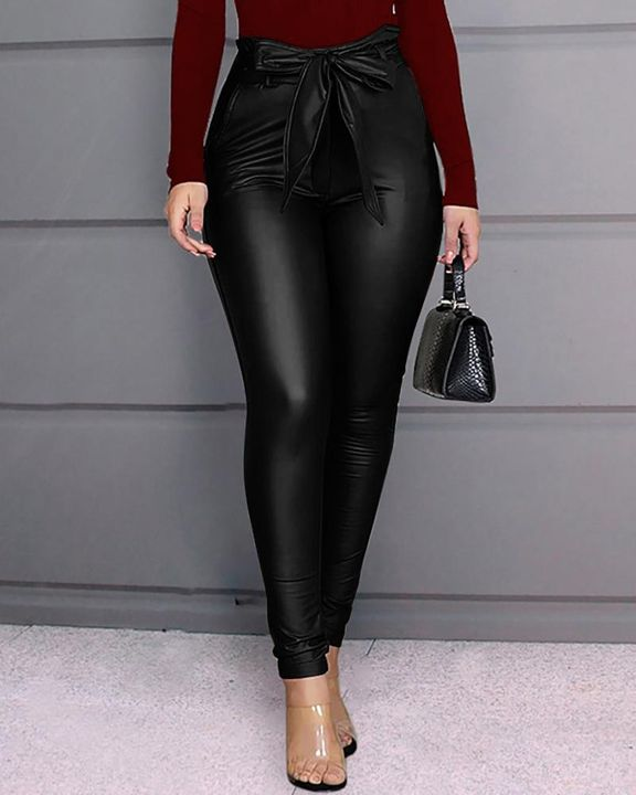 Bow Tie Front Skinny PU Leather Pants gallery 2