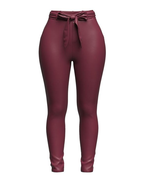 Bow Tie Front Skinny PU Leather Pants gallery 7