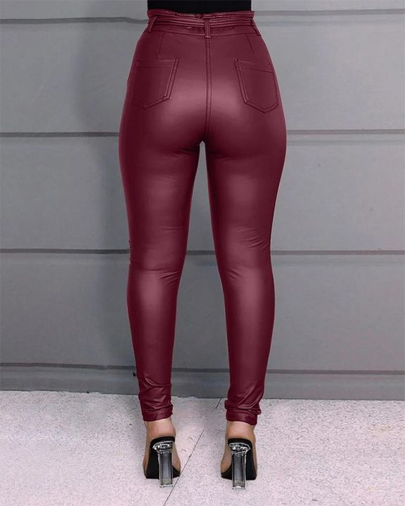 Bow Tie Front Skinny PU Leather Pants gallery 6