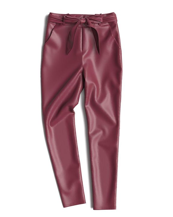 Bow Tie Front Skinny PU Leather Pants gallery 13
