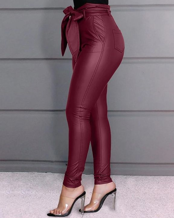 Bow Tie Front Skinny PU Leather Pants gallery 5