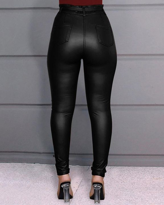 Bow Tie Front Skinny PU Leather Pants gallery 4
