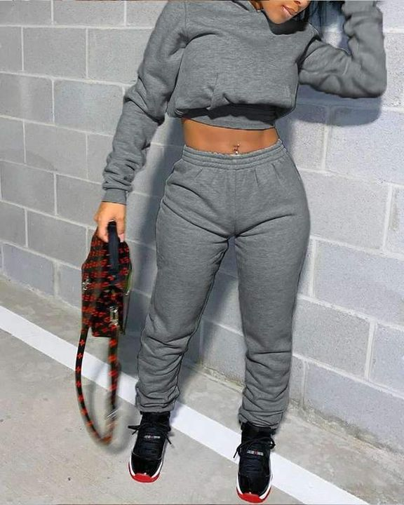 Plain Hooded Pouch Pocket Crop Top & Pants Set gallery 2
