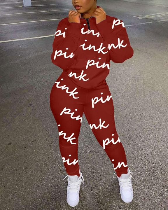 Letter Print Zip Half Slant Pocket Top & Pants Set gallery 2