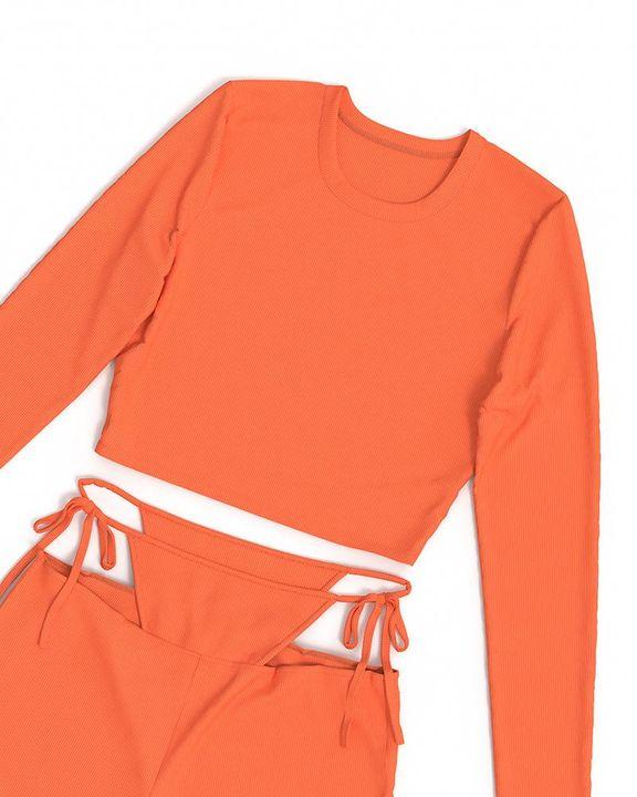 Solid Rib-Knit Tie Waist Top & Pants Set gallery 14