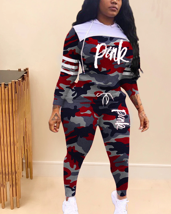 Camo & Letter Print Drawstring Hooded Top & Pants Set gallery 2