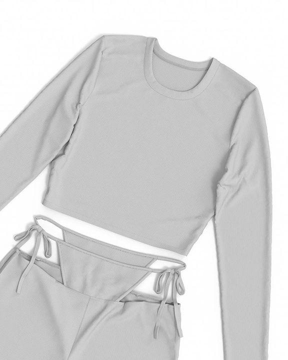 Solid Rib-Knit Tie Waist Top & Pants Set gallery 18
