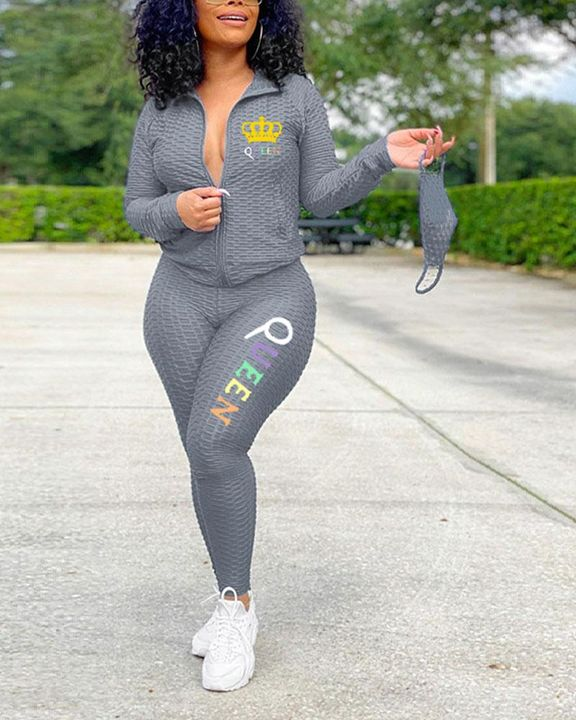 Textured Crown & Letter Print Zip Up Top & Pants Set With Mask gallery 1